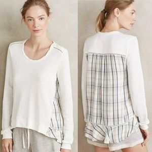 ANTHROPOLOGIE Sweater. Plaid. Ruffle. NWT